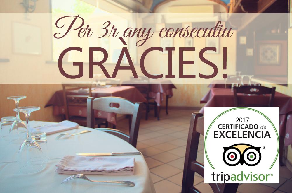 Certificat d'Excel·lancia Restaurant Cal Frare de Maians