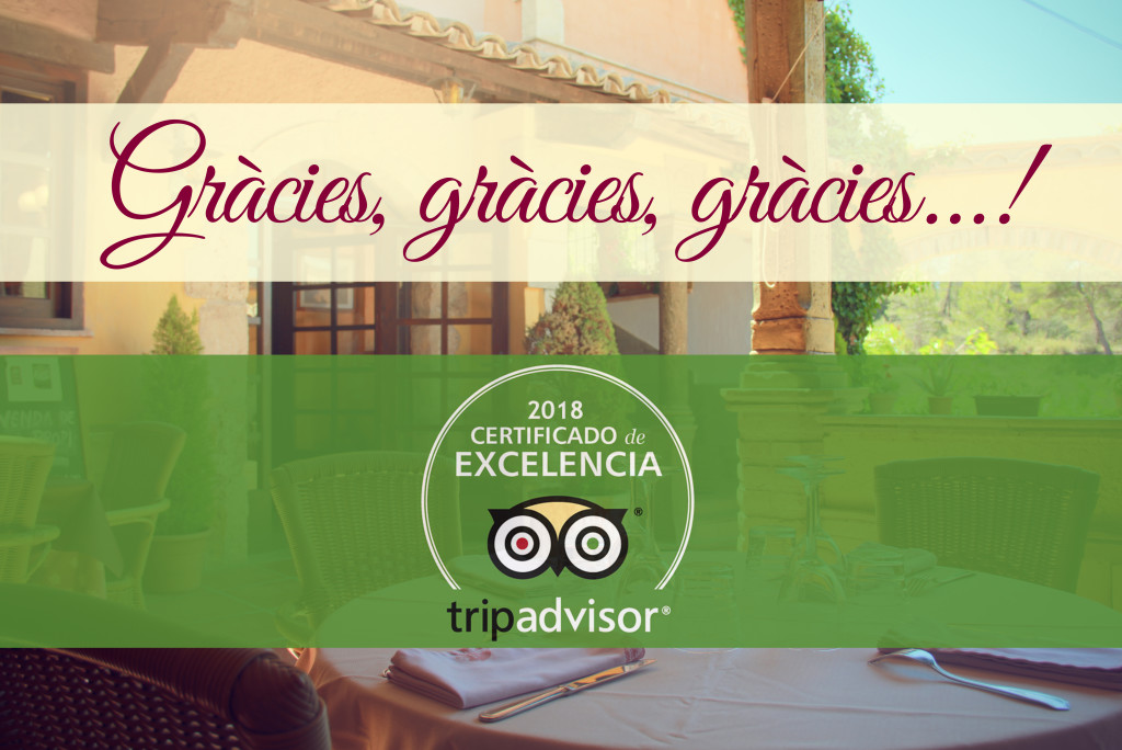 Certificado Excelencia Tripadvisor Cal Frare 2018